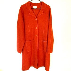 Vintage Burnt Orange Wool Button Duster Jacket L